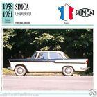 SIMCA CHAMBORD 1958 1961 CAR VOITURE FRANCE CARTE CARD FICHE