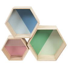 Juego De 3 wall mounted Hexagons Estantes Flotantes de cajas de almacenaje de Cubos