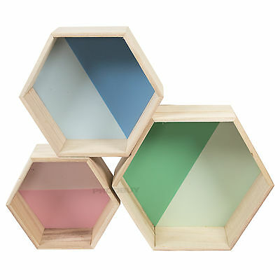 Set of 3 Wall Mounted Hexagon Floating Shelves Display Storage Cubes Boxes Decor