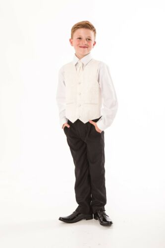 Boys Black//Cream suit 5pc Swirl wedding pageboy formal party waistcoat smart