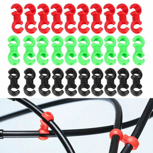 """2 x /""""S/"""" Shaped Clips Rotating Bike BRAKE CABLE TIDY in Lime Green Special Offer"""