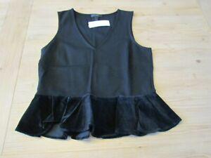 NWT-J-Crew-Small-S-Black-Velvet-Peplum-Hem-V-Neck-Tank-Top-Shirt-Shell-H3583