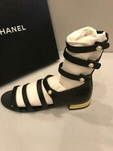 c0050cb79bd CHANEL Leather Jewel Strappy Pearl Heel Flat Gladiator Sandals Shoes ...