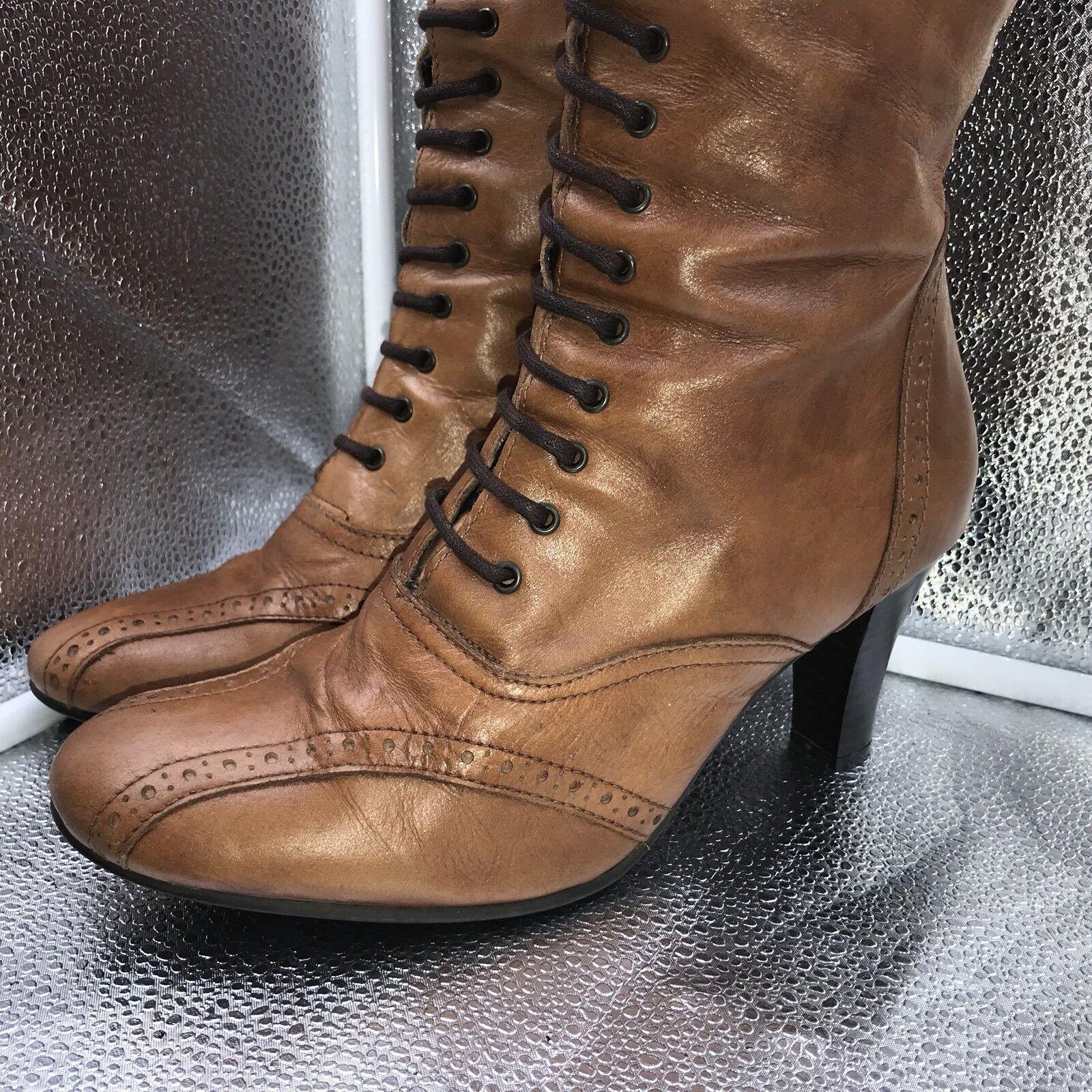 Clarks Sz 38.5 5.5 Braun Leder Victorian Up Lace Up Victorian Stiefel Goth SteamPunk Damenschuhe ddb0b1