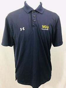 UNDER-ARMOUR-Mens-Short-Sleeve-Polo-Shirt-Sz-MEDIUM-Blue-VCU-Exectutive-MBA
