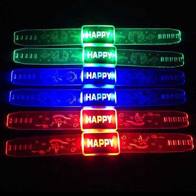 1PC LIGHT UP LETTERS HAPPY WRISTBAND STRAP BRACELET PARTY CONCERT