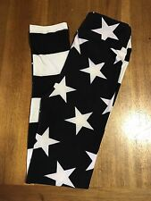 Lularoe Kids L/XL Black Leggings With White Stars And Stripes! Patriotic!
