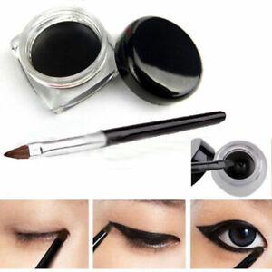 Impermeable-Eyeliner-Sombra-Gel-Delineador-de-Ojos-Maquillaje-Cosmetico-Cepillo-Negro-Nuevo