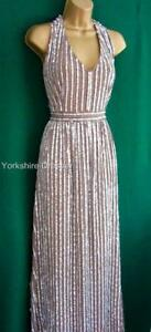 New-NEXT-Uk-18-Mink-Beige-Champagne-Sequin-Halter-Maxi-Long-Prom-Evening-DRESS