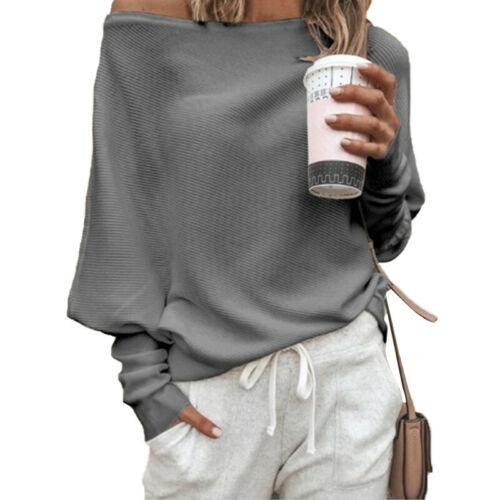 Womens Off Shoulder Baggy Sweater Pullover Sweatshirt Jumper Long Sleeve Blouse