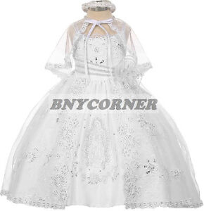 928746a475e Image is loading White-Virgin-Mary-Embroidered-Baby-Girls-Baptism- Christening-