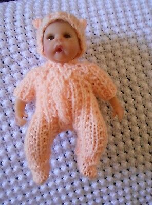 Doll Clothes peach Hand knitted footed snowsuit sleeper for ooak 6""