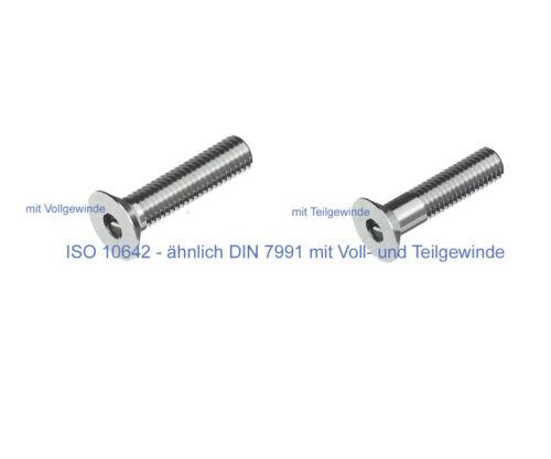 Senkkopfschrauben mit Innensechskant nach ISO 10642 ähnlich DIN 7991 10 Stk