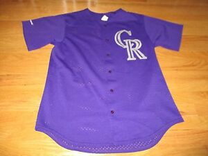 new style cf005 a0bf3 Details about Vintage Majestic COLORADO ROCKIES Baseball Button-Down (XL)  Mesh Jersey PURPLE