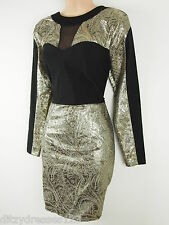 BNWT Definitions Gold and Black Jacquard Pencil Dress Size 14 Stretch RRP £57