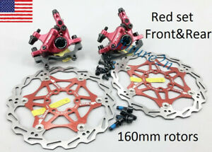 ZOOM MTB Mountain Bike Hydraulic Disc Brakes Calipers Mechanical pull Red Rear