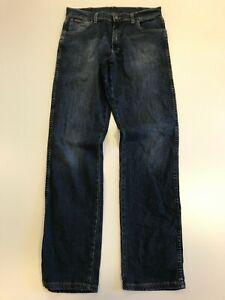N146-MENS-WRANGLER-TEXAS-STRETCH-FADED-BLUE-STRAIGHT-LEG-DENIM-JEANS-UK-W34-L34