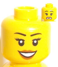 Lego Yellow Head x 1 Dual Sided Female with Smile & Sad Face for Minifigure