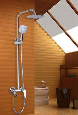 "Chrome Bath Shower Faucet Set 8"" Rain Shower Head + Hand Spray Mixer Tap"