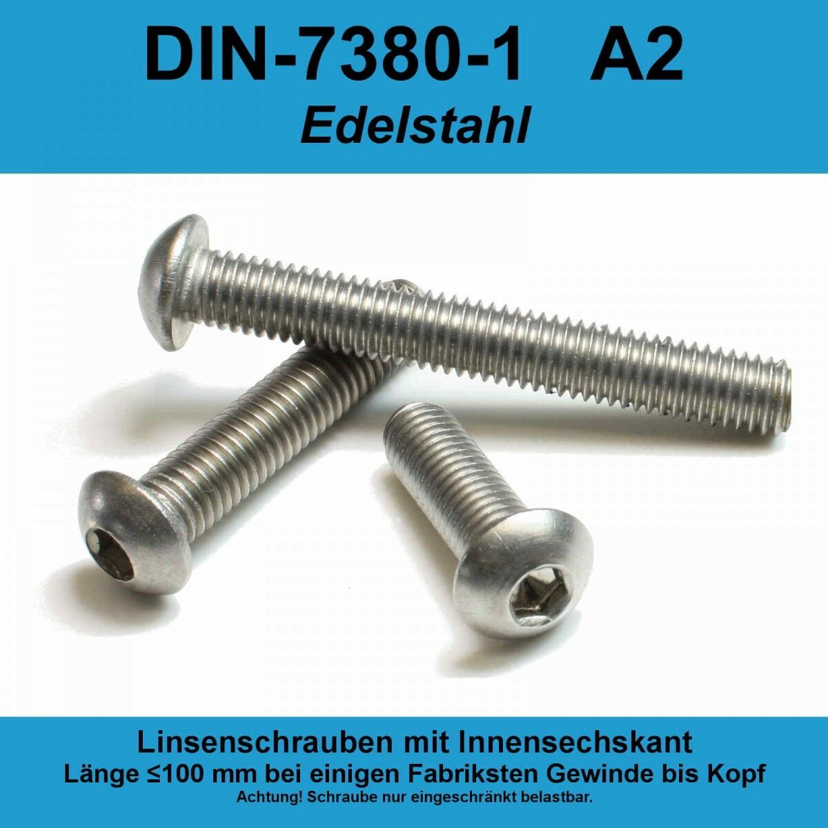 M6 ISO 7380-1 A2 V2A Edelstahl Linsenschrauben Innensechskant Linsenkopf M6x