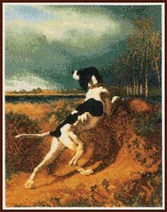 Counted-Cross-Stitch-Kit-Hound-Pointing-Pointer-Hunting-Dog-222-Constant-Troyon