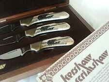1981 Kershaw 3 Piece Scrimshaw Knife Set - Bears