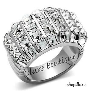 6-30-Ct-Princess-Cut-CZ-Stainless-Steel-Wide-Band-Fashion-Ring-Women-039-s-Size-5-10