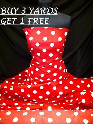 Cotton Print Red White Polka Dot Spot, dress-making Crafts Fabric Material