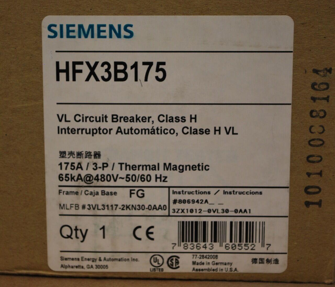 Siemens HFX3B175 Class H, 175A, 3 Pole, Thermal Magnetic, VL Circuit Break - NEW