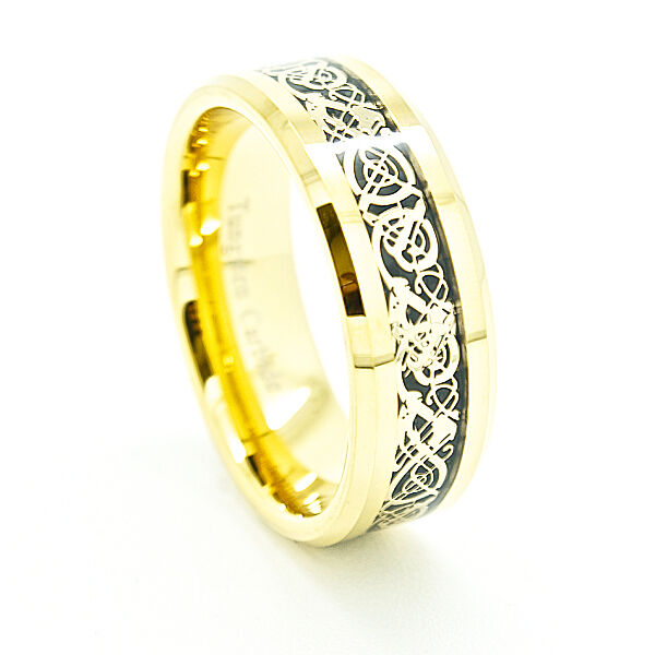 8mm 18k Gold Plated Celtic Dragon Inlay 18k Gold Plated Tungsten Ring
