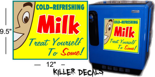 """12/"""" YELLOW MILK AND FACE DECAL COOLERS SODA POP MACHINE"""
