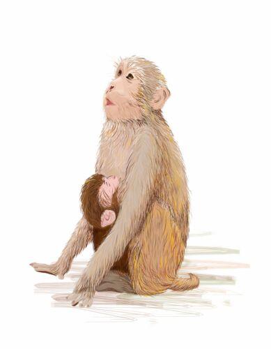 METAL MAGNET Baby Monkey Nursing On Mother Love Digital Painting Art MAGNET