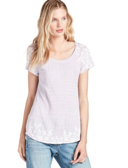 6c342afd225036 Lucky BRAND Linen Blend Lavender Floral/geometric Short Sleeve Top Size  Large