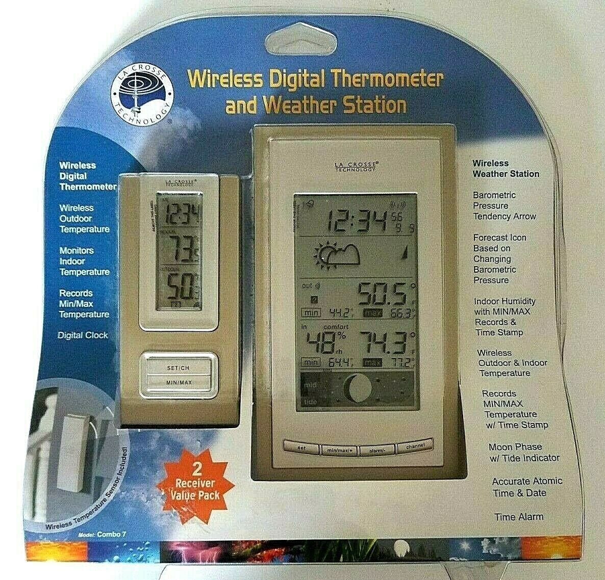 La Crosse Wireless Digital Thermometer and Weather Station 2 Receiver Pack New