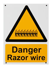 Razor Wire Warning Safety Sign A5 Plastic Pre drilled Pack of 5