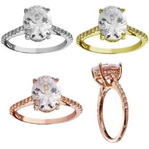 2.50 CT ÉMERAUDE Coupe Diamant Solitaire bague de fiançailles 10k Or Blanc Finition