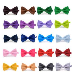 3-9-1-8inch-Solid-Bowtie-Pre-tied-Wedding-Party-satin-bow-Boys-Children-kids-tie
