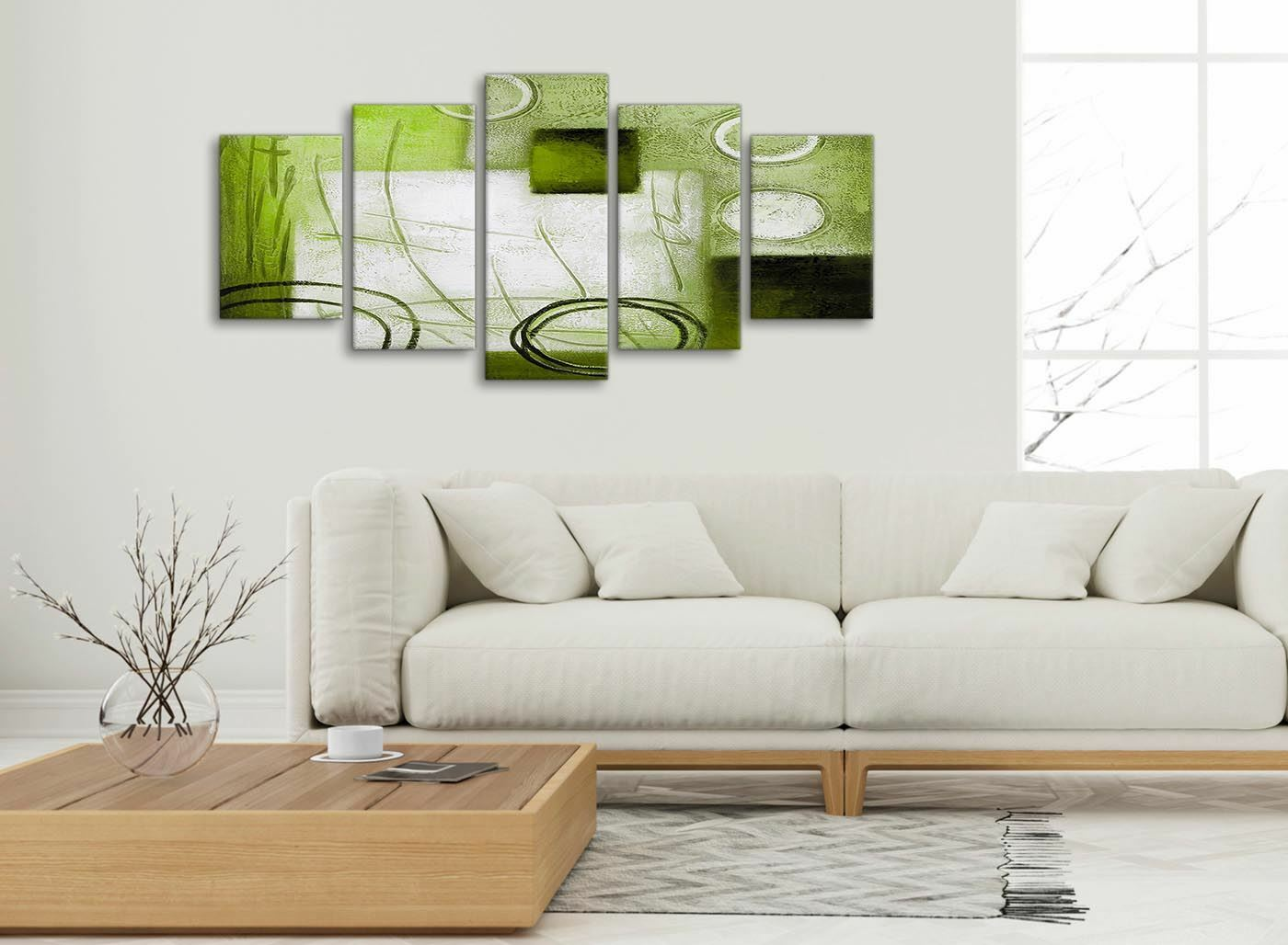 5 Panel Lime Grün Painting Abstract Office Canvas Decorations - - - 5431 - 160cm df86e6