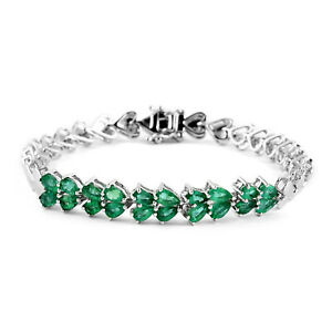 Rhodium-Over-925-Sterling-Silver-Emerald-Heart-Bracelet-for-Women-Size-7-25-034