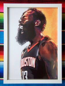 Framed-JAMES-HARDEN-Houston-Rockets-NBA-Basketball-Poster-45cm-x-32cm-x-3cm