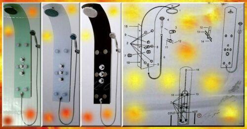 1 von 1 - Hoga Amira Glas Duschsäule Handbrause Regendusche Thermostat Weis Wellness