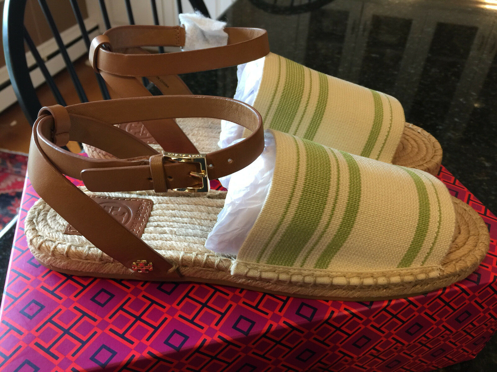 Tory Burch Stripe Elastic Sandales, olive Royal Tan, Taille 9, NEUF