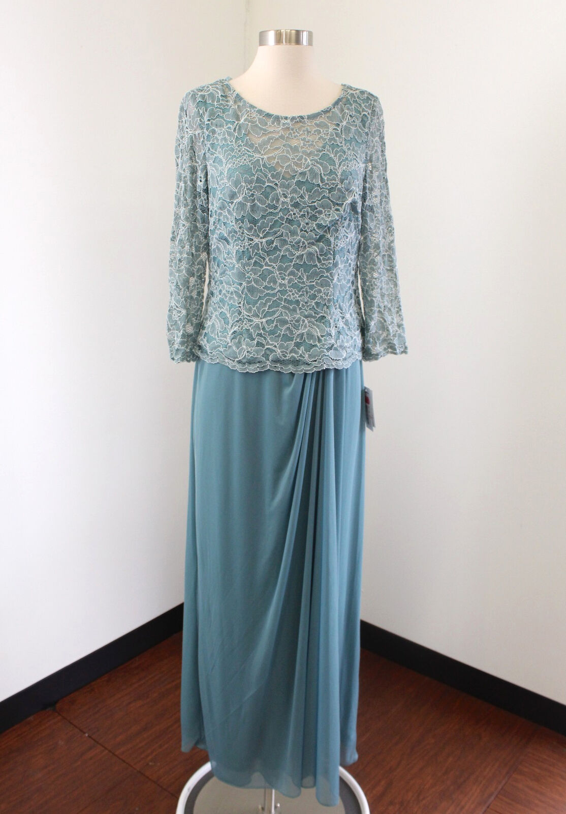 NWT Alex Evenings Teal bluee Layered Lace Draped Evening Dress Formal Size 10