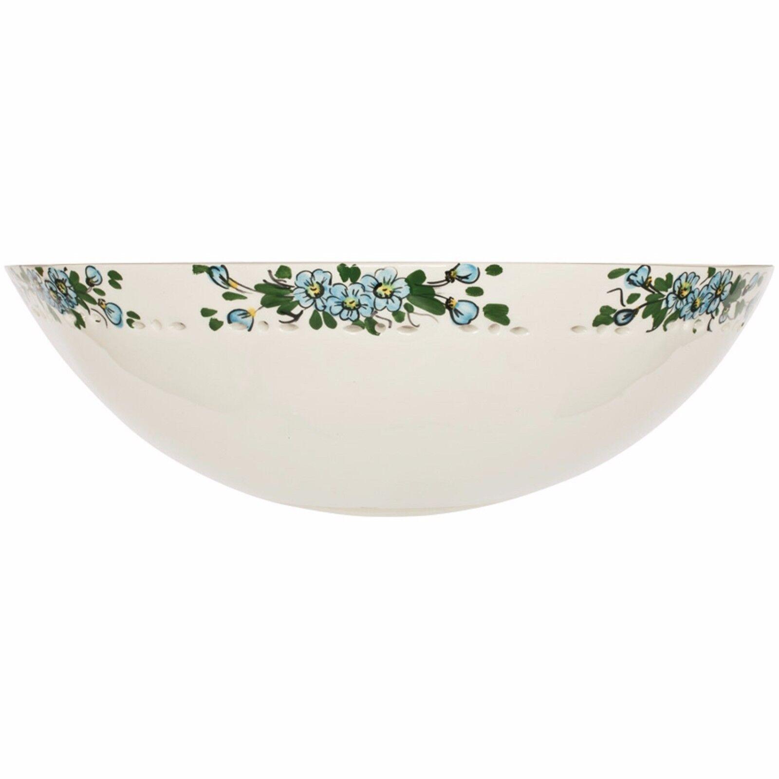 Wandleuchte 1 flammig Keramik weiß mit grünem Blaumenmuster  CERAMICHE BORSO
