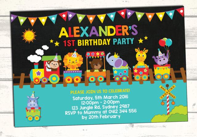 ZOO ANIMAL First Birthday Invitation Jungle Safari Carnival Train Party Supplies