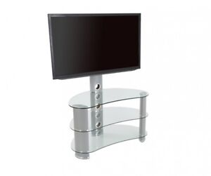 Clear Glass Curved Tv Stand With Tv Mount Bracket For 32 60 Tvs