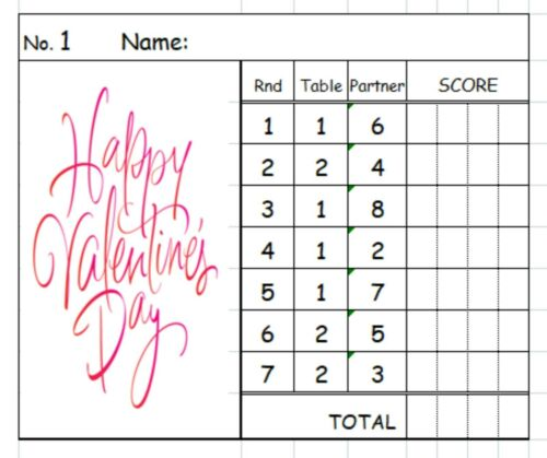 Valentines Theme Designs 2 Table Progressive Bridge Card Tallies Easy To Read