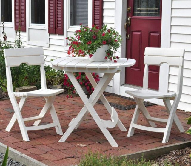 Adams Quik Fold Folding 3 Piece Patio Cafe Set Bistro Table Dining Chairs