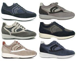 GEOX-RESPIRA-HAPPY-scarpe-uomo-sneakers-pelle-camoscio-tessuto-casual-zeppa