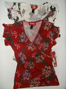 Hot-Kiss-floral-print-surplice-cap-sleeve-top-S-M-red-white-nwt-20-retail